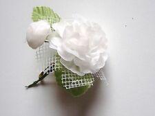 Broche FLEUR ROSE Artificielle Blanc avec Tige  neuve