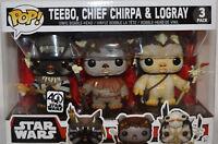 Star Wars Funko POP TEEBO,CHIEF CHIRPA & LOGRAY-EWOK 3PACK FREE US SHIPPING
