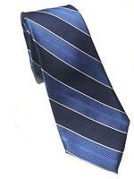 """Mens Express Neck Tie Slim Skinny 100% Silk Blue Navy Striped White 2.75"""""""