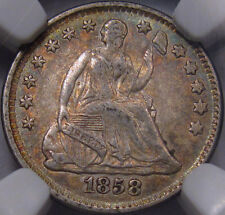 1858 Half Dime. NGC AU-55. Dusky Gray with Pretty Gold and Green Toning,