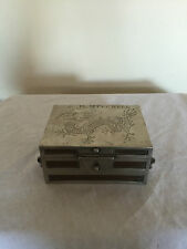 LOVELY TWO HANDLED  KUT HING PEWTER JEWELLERY BOX WITH WOODEN LINING