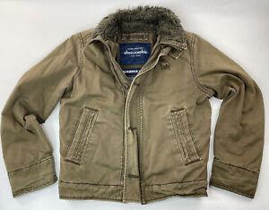 Abercrombie Adirondack Cotton FIELD JACKET Boy Size L large Military Fur Lined