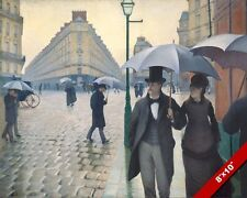 A RAINY DAY IN PARIS FRANCE COUPLE UMBRELLA CANVAS GICLEE 8X10 FRENCH ART PRINT