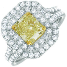 Cushion Cut 4.20 CT Diamond GIA Certified Fancy Yellow Engagement Ring Platinum