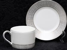 WEDGWOOD VERA WANG GILDED WEAVE PLATINUM Fine Bone China Low Cup & Saucer Set