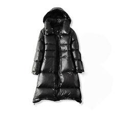 TOP Damen warme Winter Daunen langer Mantel lange Jacke mit Kapuze Schwarz BC872