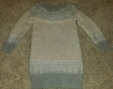 NWT BABY GAP GIRLS SIZE 5T GRAY AND IVORY LONG SLEEVE SWEATER DRESS