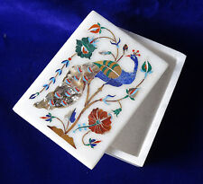 """4""""x3""""x2"""" Marble Ring Jewelry Storage Box Peacock Floral Inlay Friends Gifts H117"""