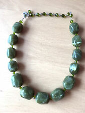 Tarina Tarantino choker Necklace Large Green ResinLucite Beads peridot crystals