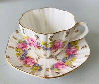 EB Foley Bone China Coffee Teacup  Saucer Rose & Blue Flowers Gold Trim England