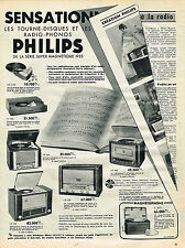 PUBLICITE ADVERTISING 045  1954  PHILIPS SENSATION  tourne-disque  radio superma
