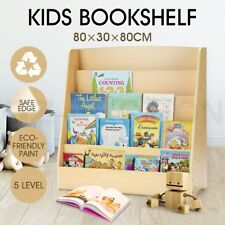 5 Level Kids Bookshelf Bookcase Rack Toy Storage Organizer Display Wooden Shelf