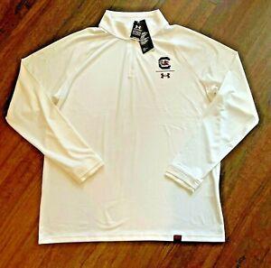 South Carolina Gamecocks NWT Under Armour Mens Large Quarter Zip Pullover White