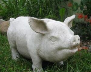 Pot Belly Pig 18 in Garden Statue Custom Made USA Fiberglass Stone CHOOSE COLOR