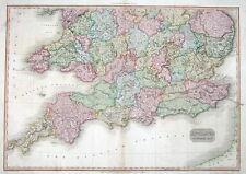 Sur de Inglaterra Pinkerton Mano Antiguo Mapa De Color 1811