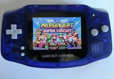 backlit ags101 nintendo game boy advance system clear purple modded brighter lcd