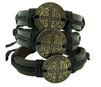 """Saint Benedict Adjustable Leather Bracelet Bronze Tone Medal 8"""" -   Pack of 3"""