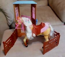 Barbie Horse Tawny Moving & sounds w/ Saddle & fence