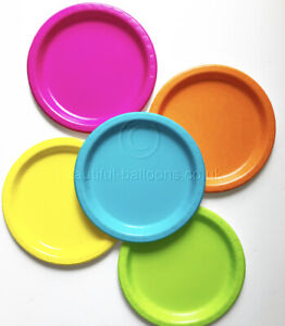 40 Beautiful Balloons Neon Paper Party Plate Range disco florescent