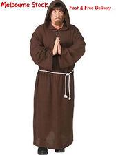 Adult Monk Costume Mens Priest Hooded Robe Friar Medieval Fancy Dress Halloween