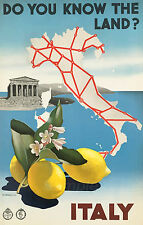 VINTAGE ITALY KNOW THE LAND ITALIAN TRAVEL A2 POSTER PRINT