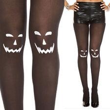 Sheer Black White Jack-o-Lantern Pumpkin Carve Design Pantyhose Stocking Costume