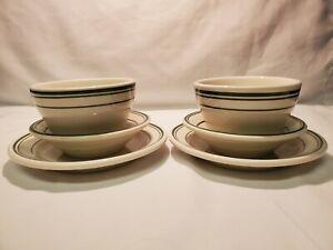 Vintage Homer Laughlin Green Stripe Restaurant Ware 6 Pieces