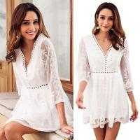 Summer Fashion White Women Dress Sexy Deep V-Neck Hollow Lace Dress Mini Dress
