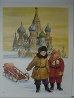 Soviet Russian Children Sled St Basil's Cathedral Art Print - D.C. Cook Co 1967