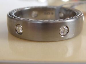 $2300 DAVID YURMAN STERLING SILVER, TITANIUM DIAMOND  MEN'S RING