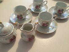 Vintage Tea/Espresso Set 10 Pces - Sugarpot/Creamer 4 Cups & Saucers Porcelain