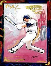 PETER MAX POSTER- MARK MCGUIRE- MAX BASEBALL CARD -12 X 18- FACSIMILE SIGNED-WOW