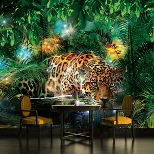 Wallpaper mural for bedroom & living room Giant photo wall Leopard animal Jungle