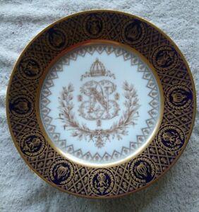 SEVRES NAPOLEON III PORCELAIN DINNER PLATE HEAVILY GILDED MONOGRAM N CIRCA 1857