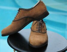 GUCCI Men's  Brown Suede round toe Oxfords dress shoes , Italy Sz-9 G