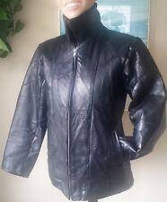 Patchwork-Style Black Heavy Leather Coat Biker Jacket Zip Front Womens Size S/M