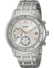 New Guess Men's Silver Stainless-Steel Japanese Quartz Fashion Watch U1001G1