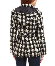 NEW! Size M Wool Black & White Houndstooth Hooded Peacoat MSRP $68