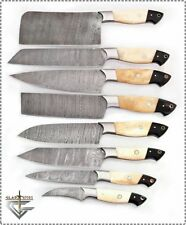 PROFESSIONAL DAMASCUS CHEF/KITCHEN KNIFE CUSTOM MADE BLADE 8 Pcs. Set .MH-16-BH