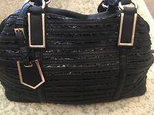 Black Rivet Wilsons Leather Black Embellished Big Handbag Gold Trim