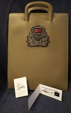 NEW CHRISTIAN LOUBOUTIN EMBELLISHED DOCUMENT HOLDER LEATHER! BRIEFCASE PELLE!