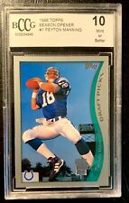 """New listing PEYTON MANNING Rookie Card (RC) """"Season Opener"""" 1998 TOPPS BCCG-GRADED 10!  #1"""