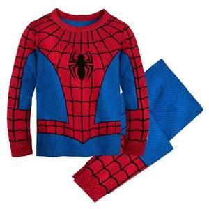 NWT Disney Store Spiderman Costume Tight Fit Pajama Set Boy Marvel 5,6,7,8,10