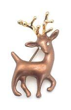 Christmas Reindeer Brooch Yellow Gold Plated Metal Pin Enamel Crystal Eyes Gifts