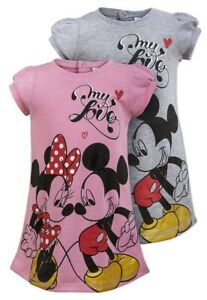 Mickey & Minnie Mouse Baby Girls Dress - Pink & Grey - Ages 6/12/23 Months