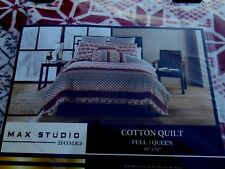 MAX STUDIO White Red Christmas Full Queen Quilt