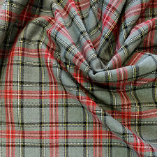 Red Check Tartan Tissu 145 Cm Large polyester/viscose/élasthanne Mix