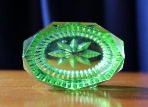 Vintage Oval Shaped Green Depression Glass Salt Dish