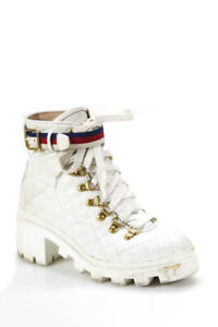 Gucci Womens Lace Up Trip Quilted Pattern Combat Boots White Leather Size 36.5