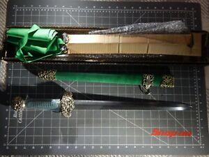 "Cold Steel Jade Lion Dagger Sword 15.5"" Spear Point Damascus Satin Blade NEW"